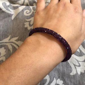 Purple Swarovski Bangle with heart detailing